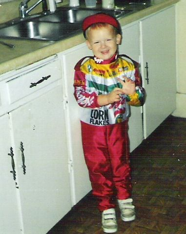 Zach dressed as Terry Labonte for Halloween!